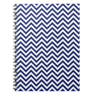 Navy Blue and White Zigzag Stripes Chevron Pattern Notebook