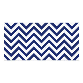 Navy Blue and White Zigzag Stripes Chevron Pattern Personalized Photo Card