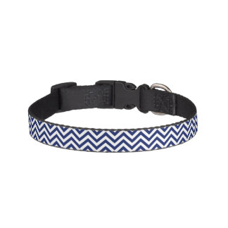 Navy Blue and White Zigzag Stripes Chevron Pattern Pet Collar