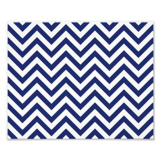 Navy Blue and White Zigzag Stripes Chevron Pattern Photo Print