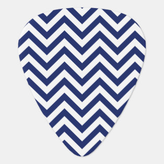 Navy Blue and White Zigzag Stripes Chevron Pattern Plectrum