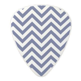 Navy Blue and White Zigzag Stripes Chevron Pattern Polycarbonate Guitar Pick