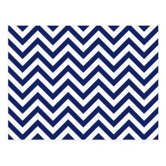Navy Blue and White Zigzag Stripes Chevron Pattern Postcard