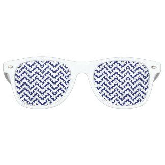 Navy Blue and White Zigzag Stripes Chevron Pattern Retro Sunglasses