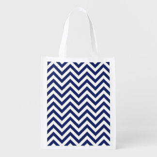 Navy Blue and White Zigzag Stripes Chevron Pattern Reusable Grocery Bag