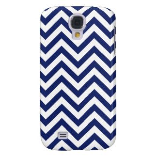 Navy Blue and White Zigzag Stripes Chevron Pattern Samsung Galaxy S4 Covers