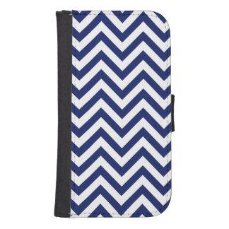Navy Blue and White Zigzag Stripes Chevron Pattern Samsung S4 Wallet Case