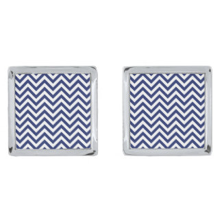 Navy Blue and White Zigzag Stripes Chevron Pattern Silver Finish Cufflinks