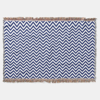Navy Blue and White Zigzag Stripes Chevron Pattern Throw Blanket