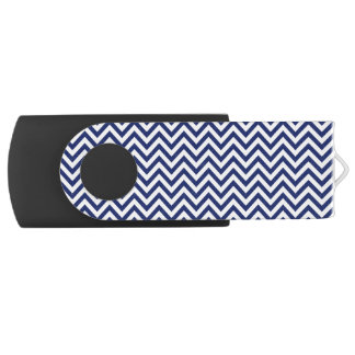 Navy Blue and White Zigzag Stripes Chevron Pattern USB Flash Drive