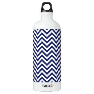 Navy Blue and White Zigzag Stripes Chevron Pattern Water Bottle