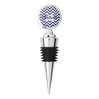 Navy Blue and White Zigzag Stripes Chevron Pattern Wine Stopper