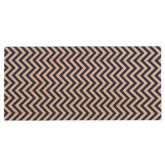 Navy Blue and White Zigzag Stripes Chevron Pattern Wood USB Flash Drive