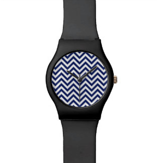 Navy Blue and White Zigzag Stripes Chevron Pattern Wrist Watch