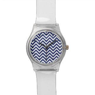 Navy Blue and White Zigzag Stripes Chevron Pattern Wrist Watches