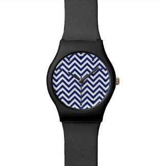 Navy Blue and White Zigzag Stripes Chevron Pattern Wristwatches