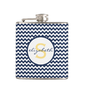 Navy Blue and Yellow Chevron Monogram Hip Flask