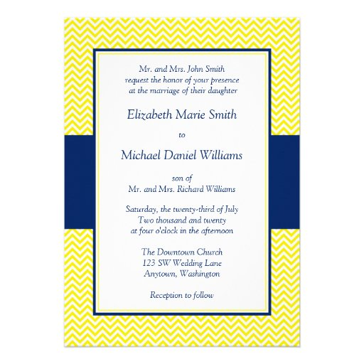 Navy Blue and Yellow Chevron Wedding Invitations Personalized Announcements