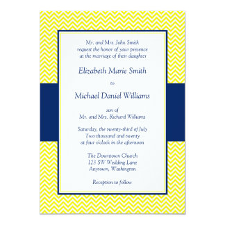 "Navy Blue and Yellow Chevron Wedding Invitations 5"" X 7"" Invitation Card"