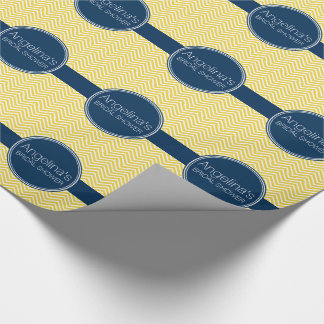 Navy Blue and Yellow Chevrons Bridal Shower Wrapping Paper