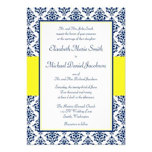 Navy Blue and Yellow Damask Wedding Invitations - Zazzle.com.au
