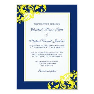 Navy Blue and Yellow Flourish Swirls Wedding Card