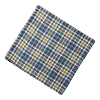 Navy Blue and Yellow Gold Sporty Plaid Bandana