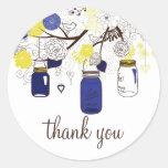 Navy Blue and Yellow Mason Jars Thank You Sticker Round Sticker