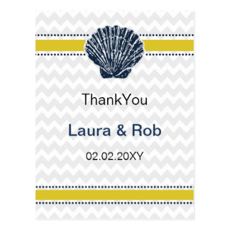 Navy Blue and Yellow Seashell Wedding Stationery Postcard