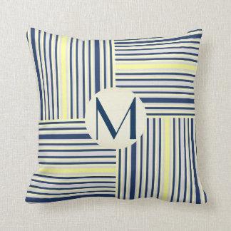 Navy Blue and Yellow Stripe Block Monogram Pillow
