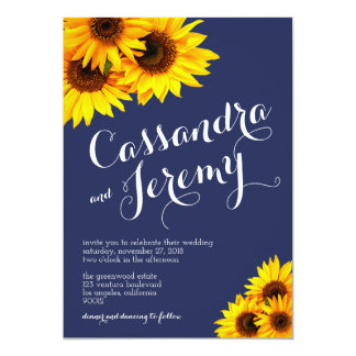 Navy Blue and Yellow Sunflowers Wedding Invitation