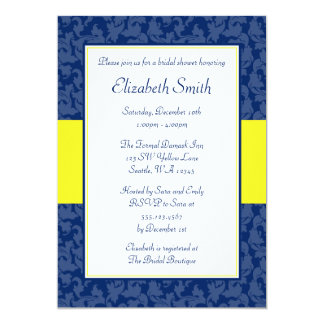 Navy blue and yellow swirl damask bridal shower 13 cm x 18 cm