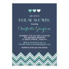 Navy Blue Aqua Chevron Bridal Shower Invitation