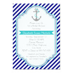 Navy blue, aqua nautical wedding bridal shower personalised invitation