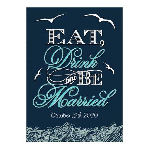Navy Blue & Aqua Nautical Wedding Invitations