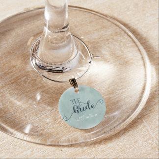 Navy Blue Aqua Watercolor Wedding Bride Monogram Wine Glass Charms