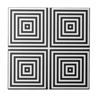Navy Blue Art Concentric Squares on White BG Tile