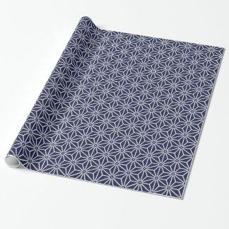 Navy blue Asanhoha Japanese Pattern Wrapping Paper