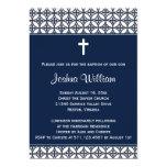 Navy Blue Baptism Christening Invitation