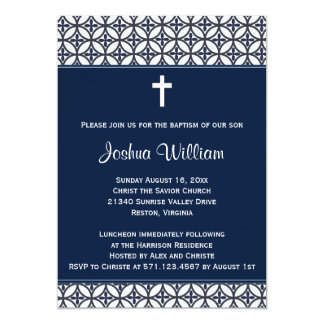 Navy Blue Baptism Christening Invitation