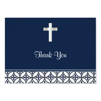 Navy Blue Baptism Thank You 11 Cm X 16 Cm Invitation Card