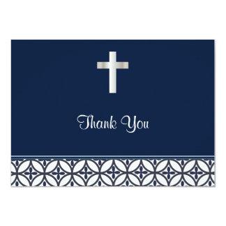 Navy Blue Baptism Thank You 11 Cm X 16 Cm Invitation Card