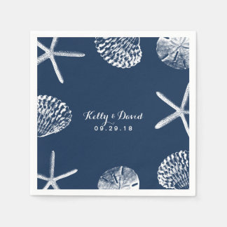 Navy Blue Beach Seashells Wedding Disposable Serviette