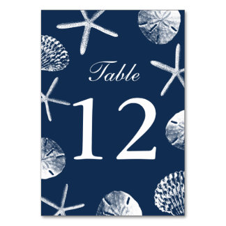Navy Blue Beach Theme Seashells Table Numbers