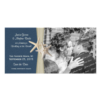 Navy Blue Beach Wedding Starfish Save the Date Card