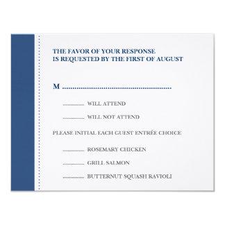 Navy blue beaded border wedding RSVP response card