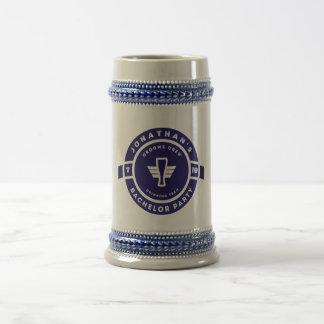 Navy Blue Beer Badge Bachelor Party Branding Beer Stein