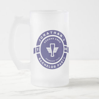 Navy Blue Beer Badge Bachelor Party Branding Frosted Glass Beer Mug