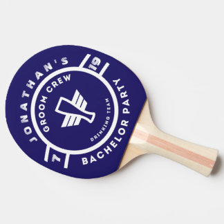 Navy Blue Beer Badge Bachelor Party Branding Ping Pong Paddle
