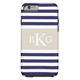 Navy Blue Beige Stripes Monogram Tough iPhone 6 Case